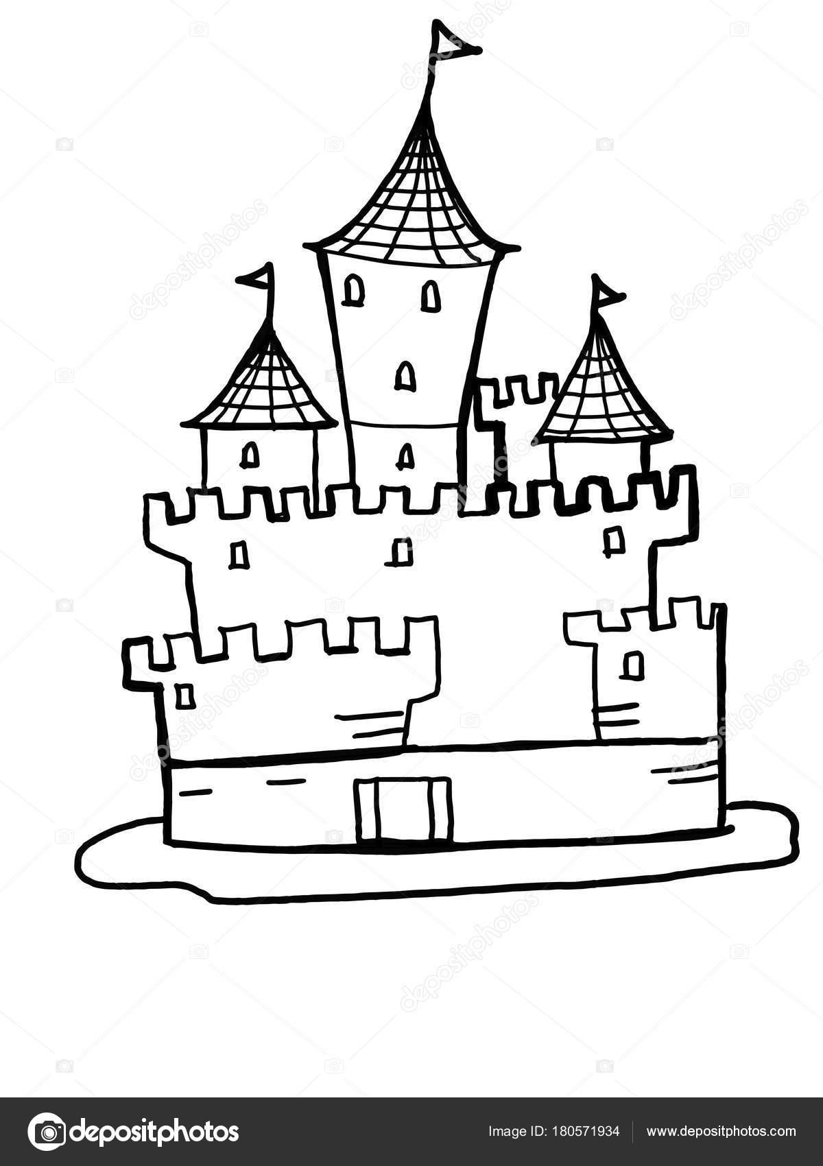 desenho ilustração castelo para colorir desenhos animados branco