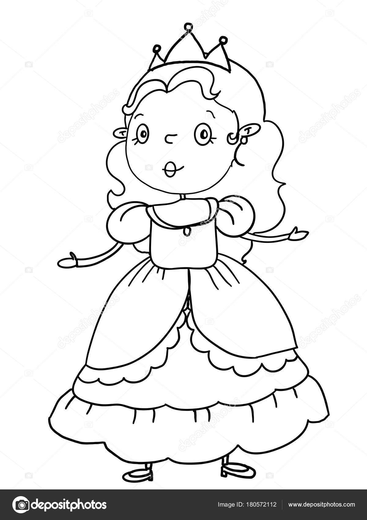 Dibujo Ilustración Castillo Princesa Príncipe Para Colorear Fondo ...