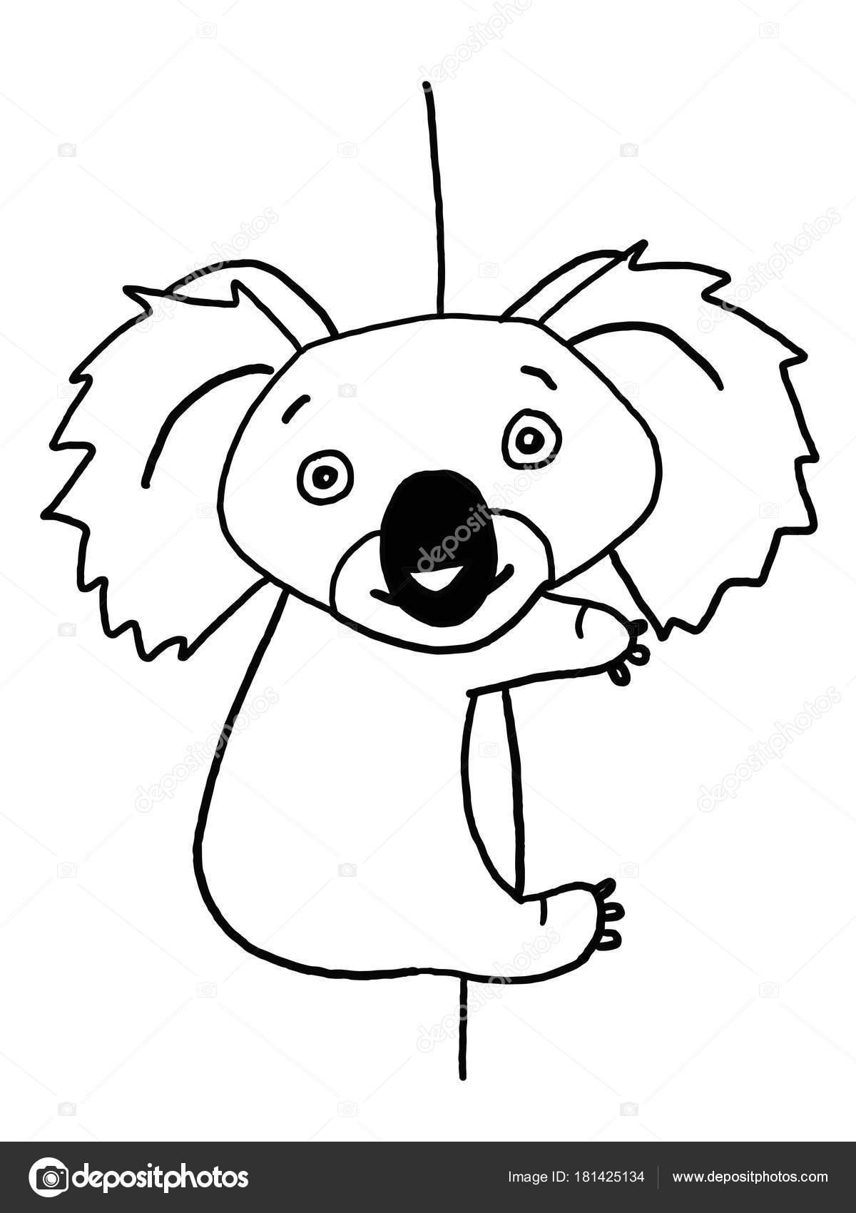 Lindo Koala Trepar Ilustración Dibujo Para Colorear Blanco Negro ...