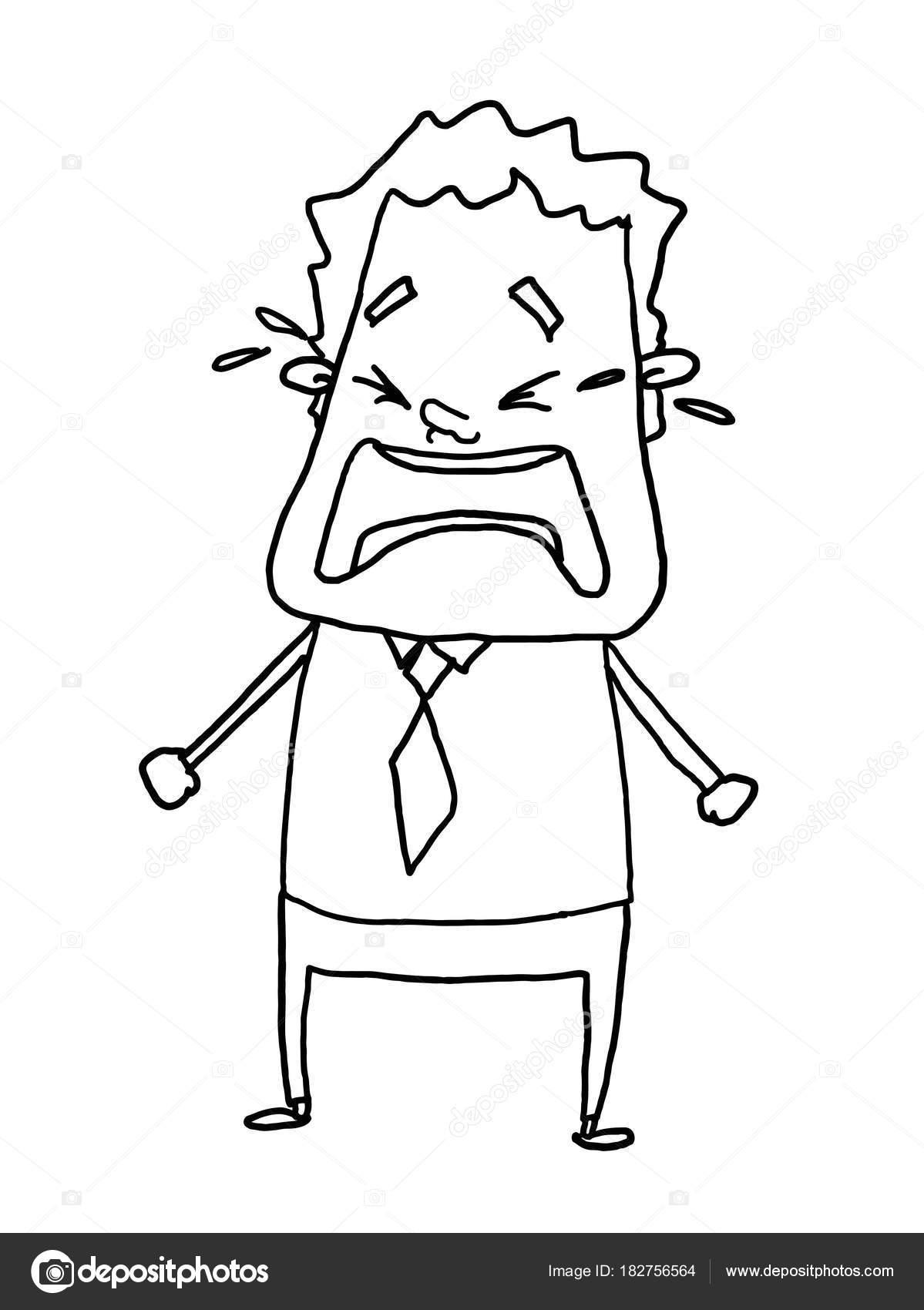 実業家泣いているぬりえイラスト ドローイング ストック写真