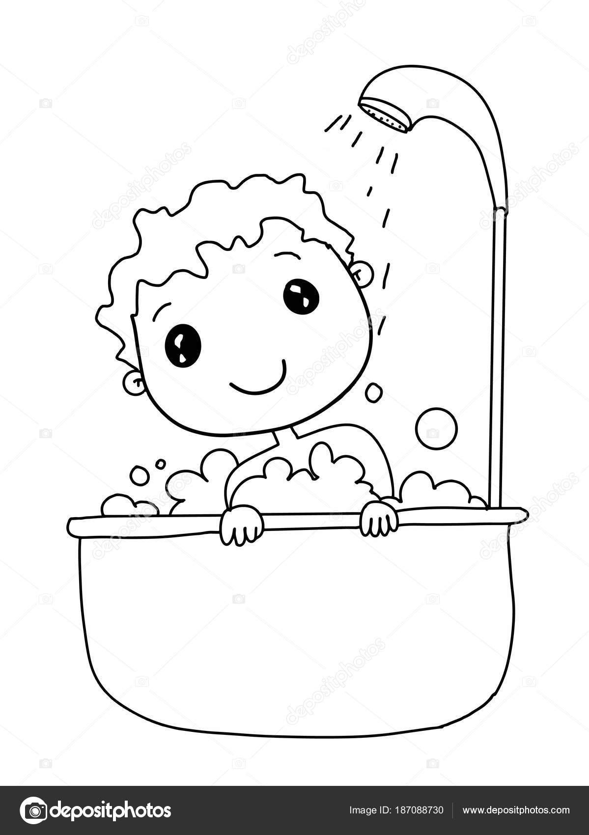 Imágenes Bañarse Muchacho Niño Dibujos Animados Lindo Bañarse