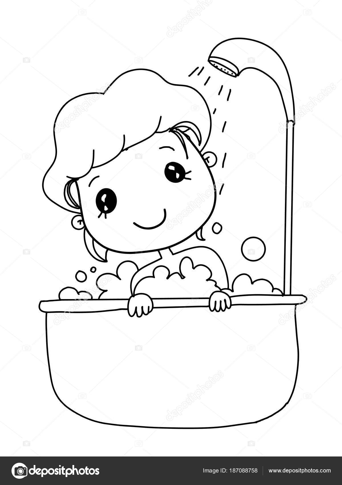 Bañarse Dibujo Infantil Chica Niño Dibujos Animados Lindo