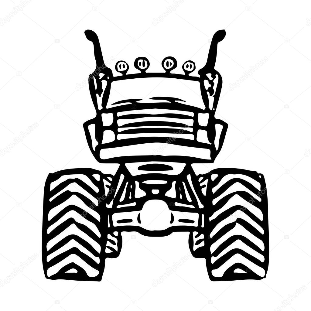 Monster Truck Icon Off Road Jeep Black Contour Ink Silhouette Front View Vector Drawing Isolated Drawing On A White Background Isolate Premium Vector In Adobe Illustrator Ai Ai Format Encapsulated