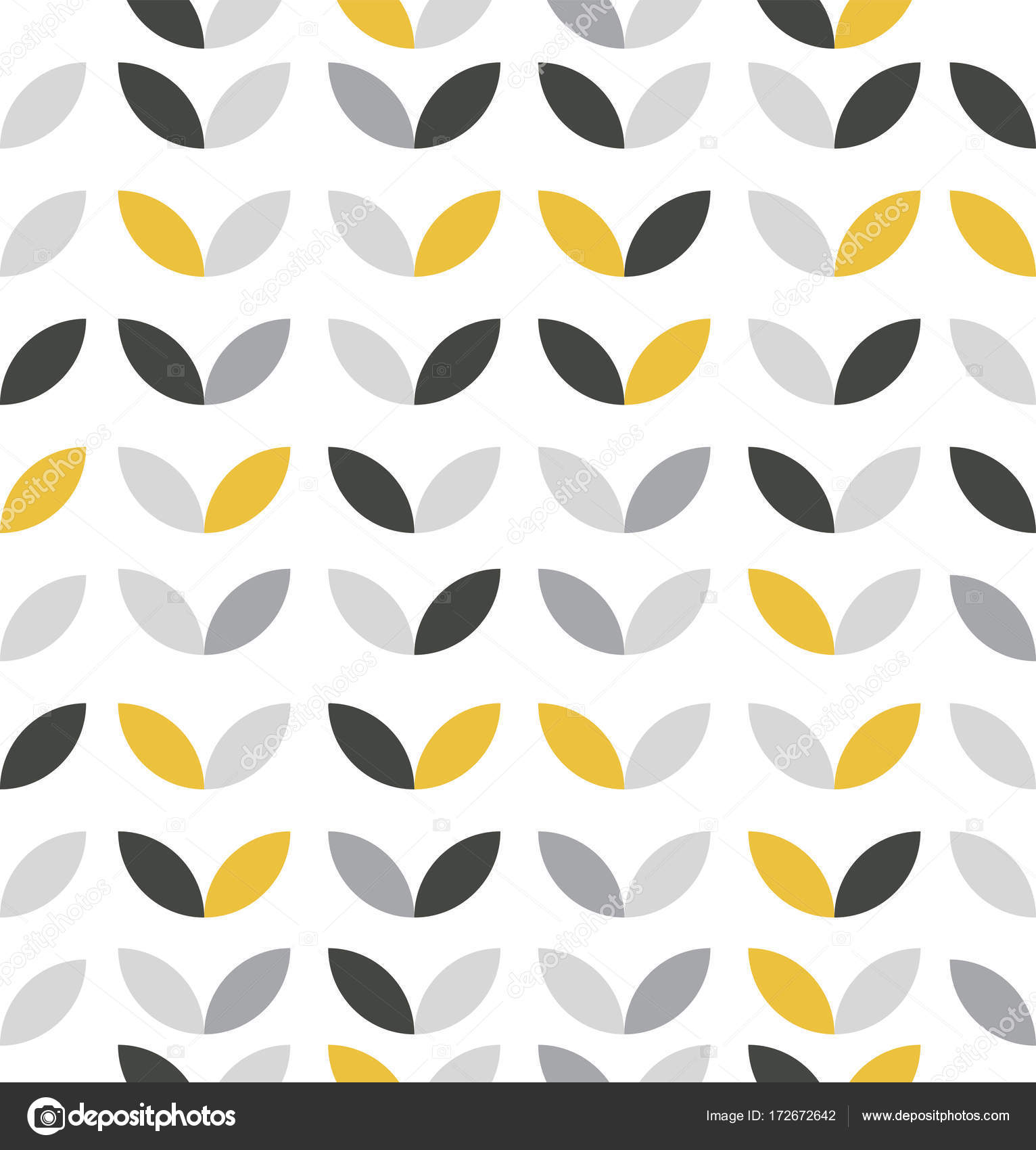Yellow And Grey Abstract Flower Pattern Stock Vector Focusbell