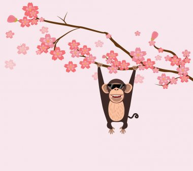 monkey climbing cherry tree branch background