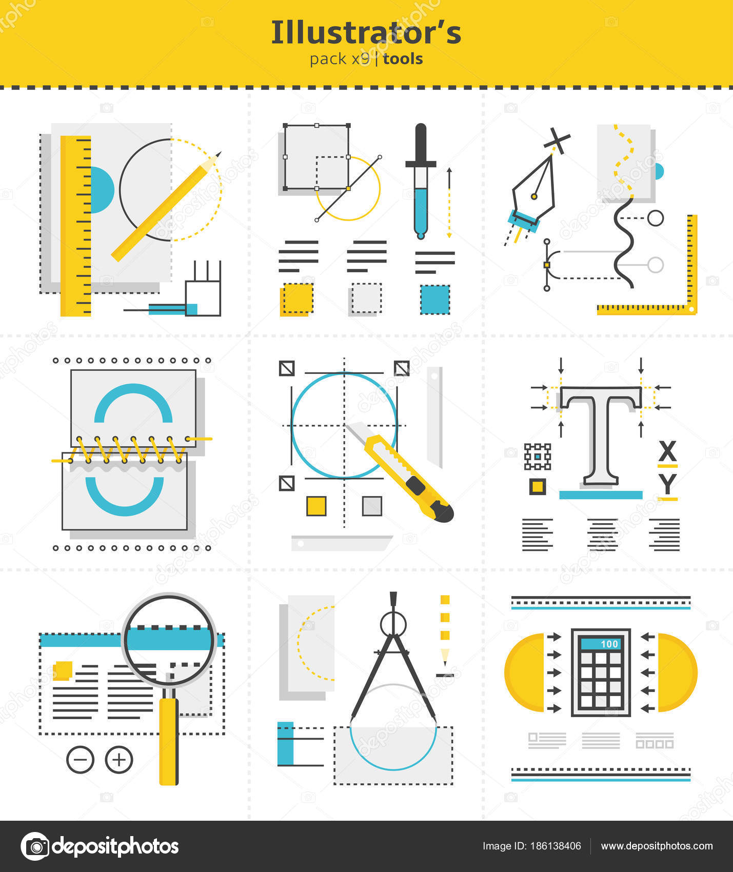 Isolated illustrator`s tools to use in work icons  Vector