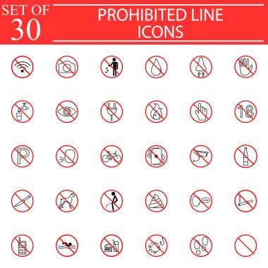 Prohibited signs line pictograms package, Forbidden symbols collection, vector sketches, solid logo illustrations, linear icons isolated red circles on white background, eps 10.