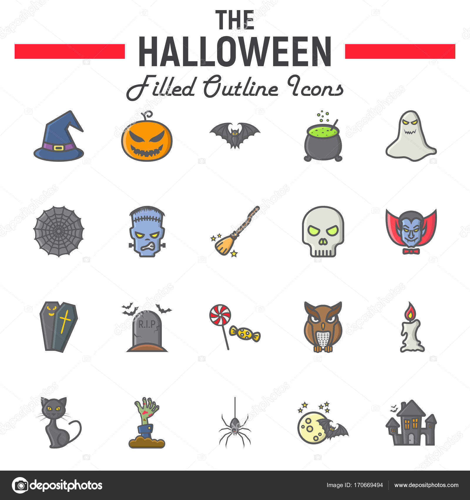 Halloween Filled Outline Icon Set Scary Symbols Stock Vector
