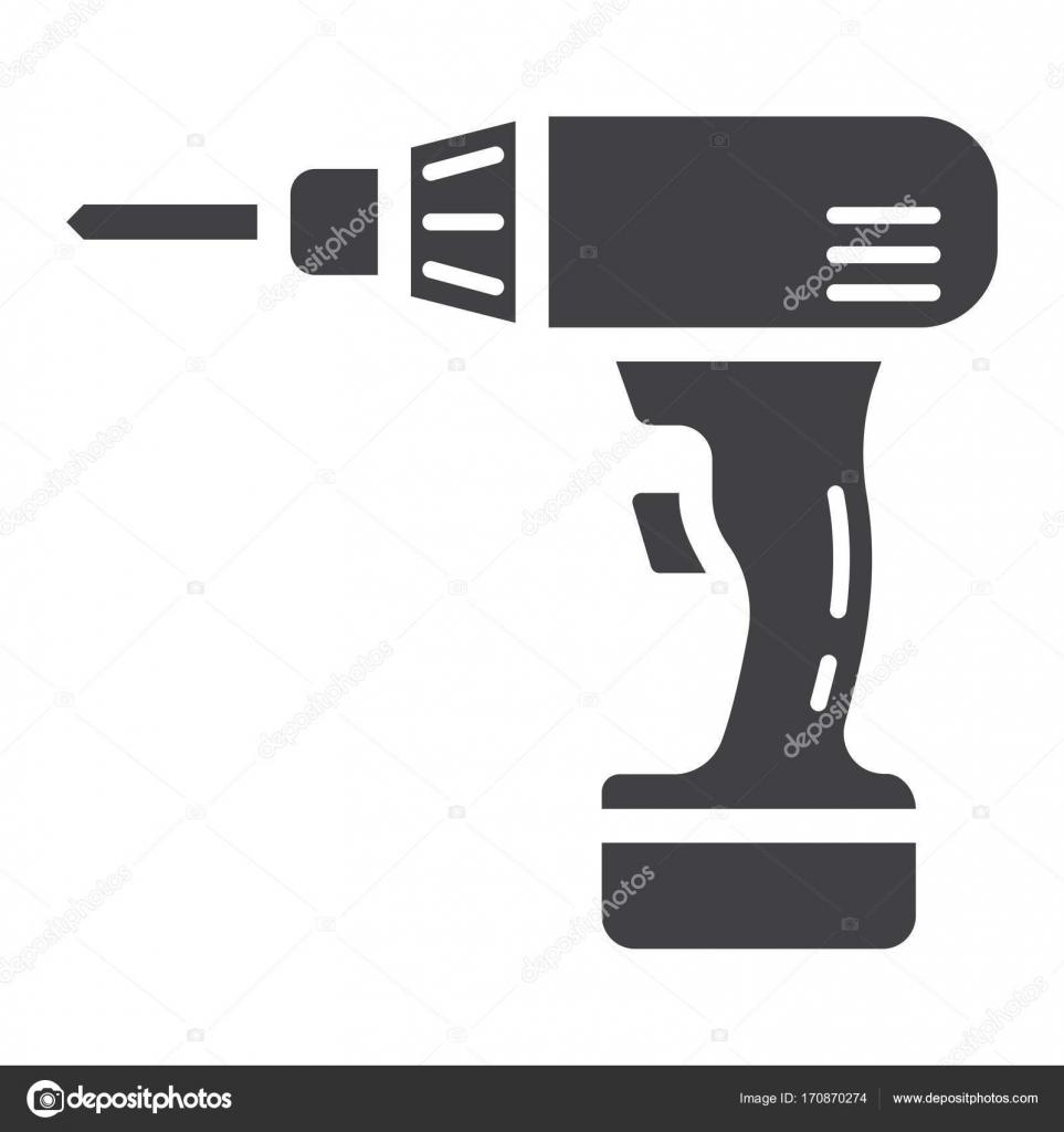 Elektrische Bohrmaschine Glyphe Symbol, bauen und reparieren ...