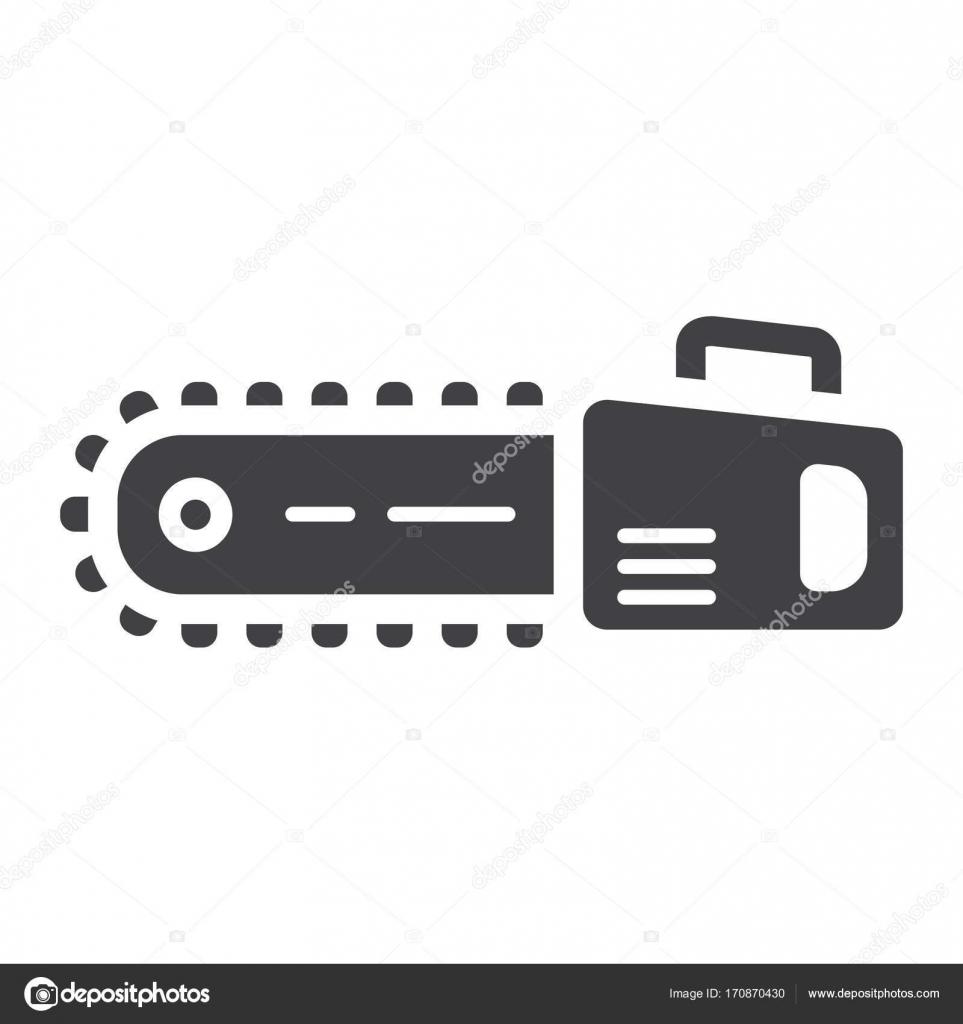 Kettensäge-Glyph-Symbol, bauen und reparieren — Stockvektor ...