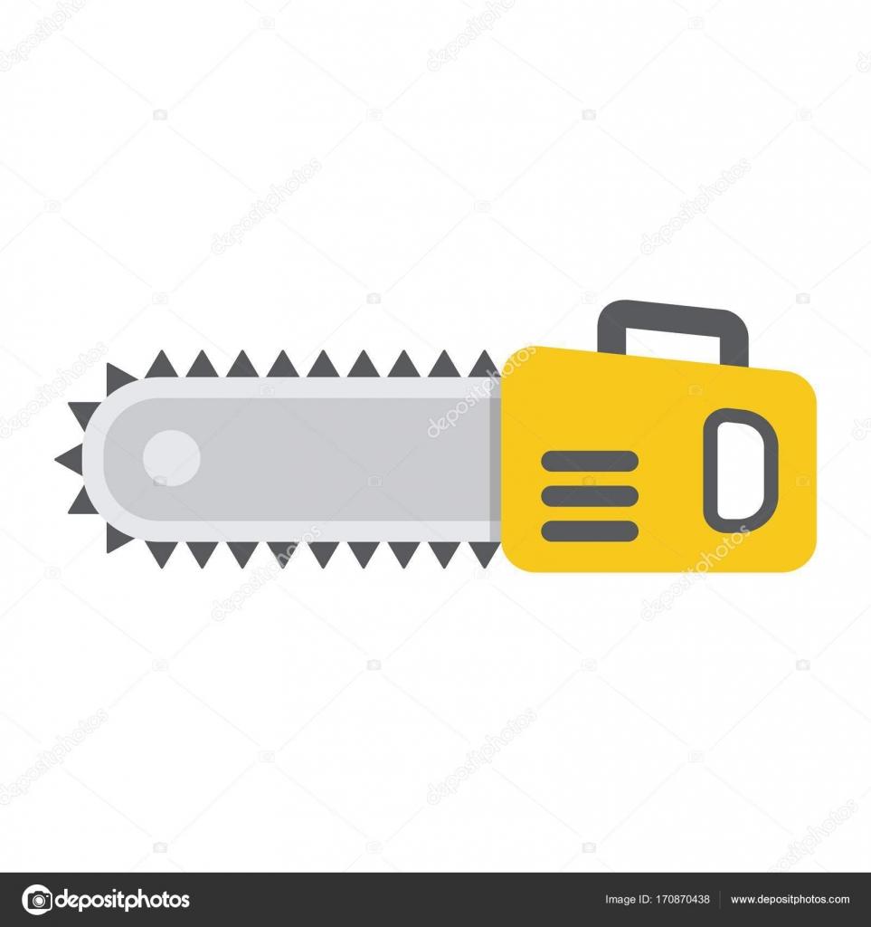 Kettensäge-flach-Symbol, Build und Reparatur, sah Elektro ...