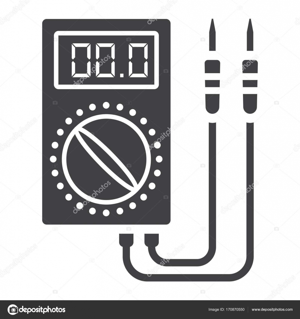 Digital multimeter glyph icon, build and repair — Stock Vector ...