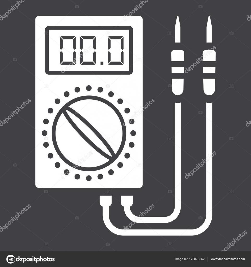 Digitale multimeter Glyph-Symbol, Bau und Reparatur — Stockvektor ...