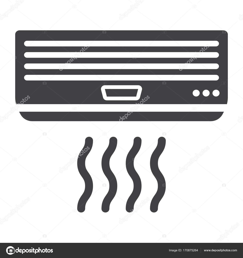 Solide Symbol Klimaanlage, elektrische und Gerät — Stockvektor ...