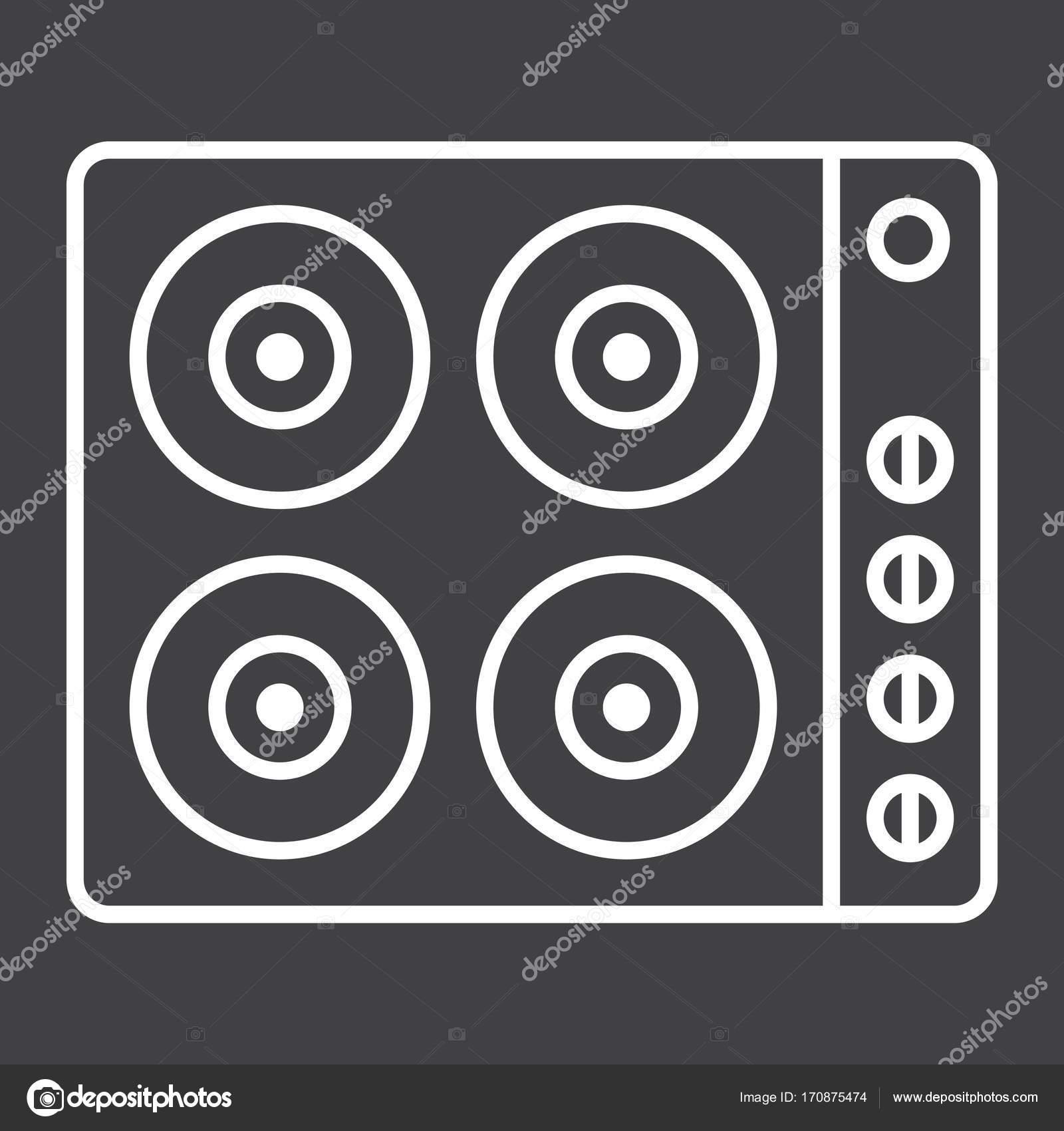 elektrische Kochplatte Liniensymbol, elektrischer Herd — Stockvektor ...