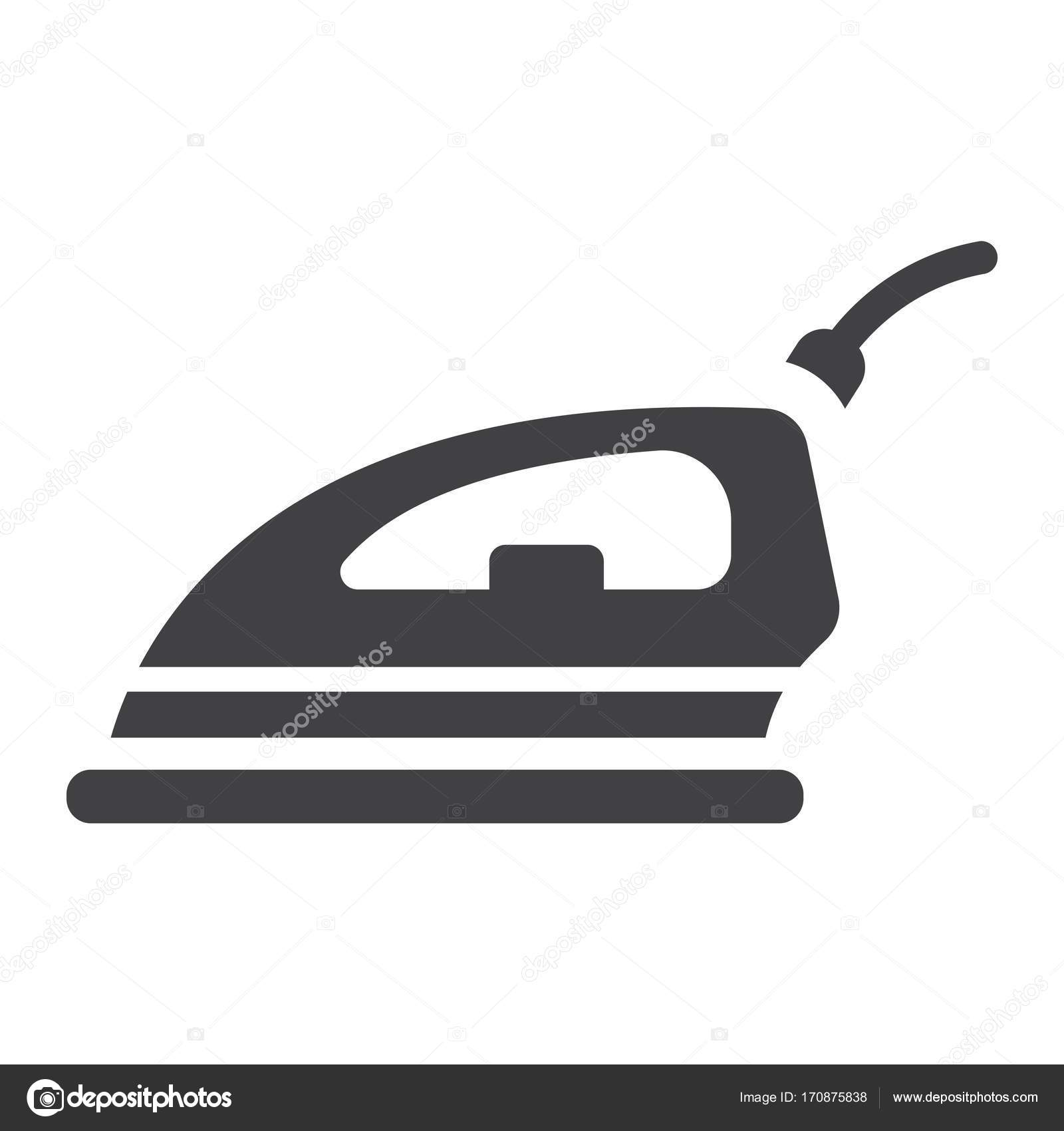 Electric Iron Solid Icon Household And Appliance Stock Vector