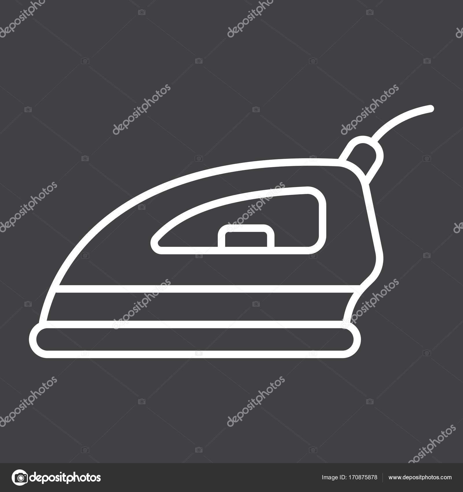 Liniensymbol elektrische Bügeleisen, Haushalt und Gerät ...