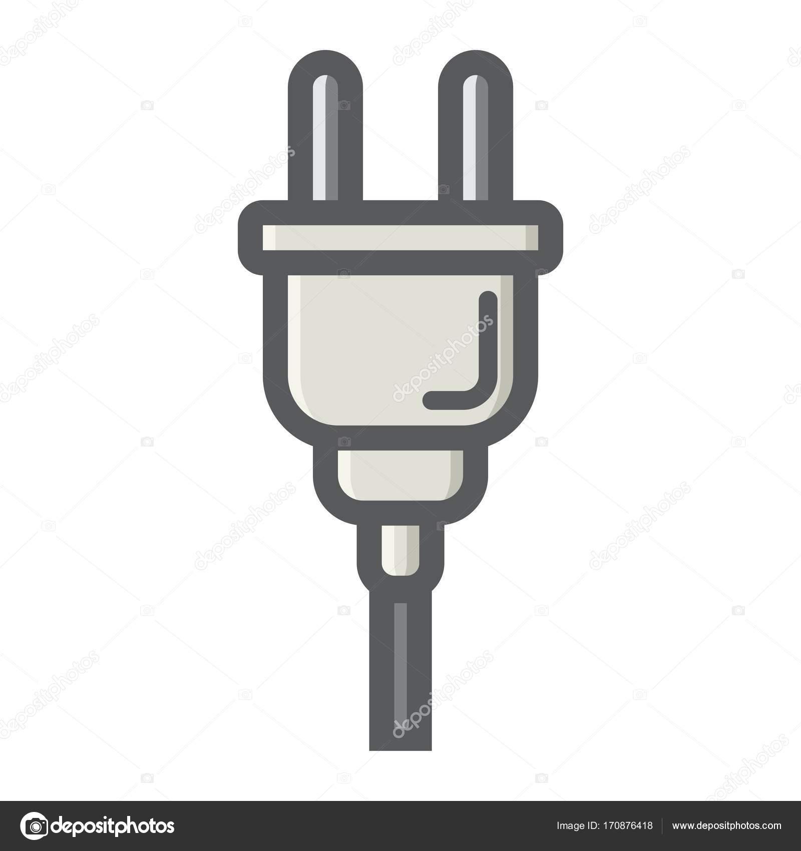 Elektrische Stecker bunte Liniensymbol macht Gerät — Stockvektor ...