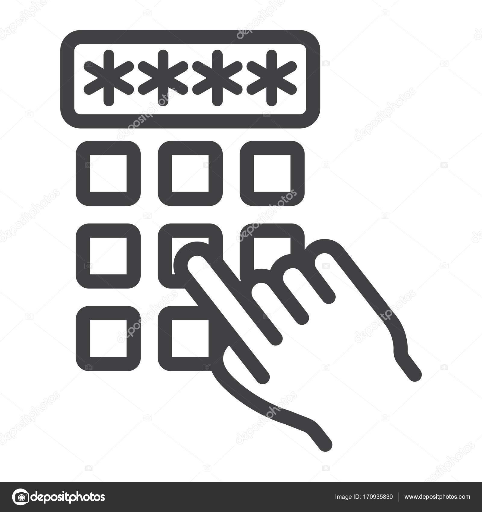 e8fc8f648a174 Entrando em ícone de linha de código pin de dedo da mão, desbloquear — Vetor
