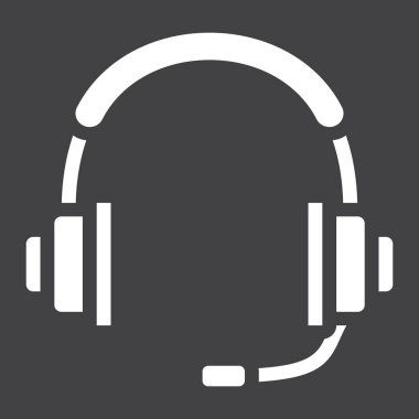 Headphones solid icon, call center and website