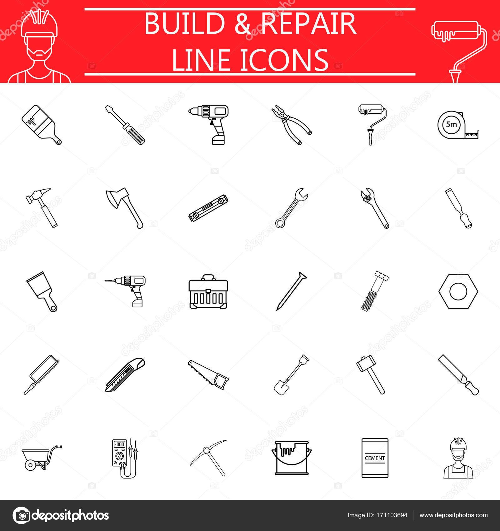 Bauen Sie und reparieren Sie Linie-Icon-set — Stockvektor © amin268 ...