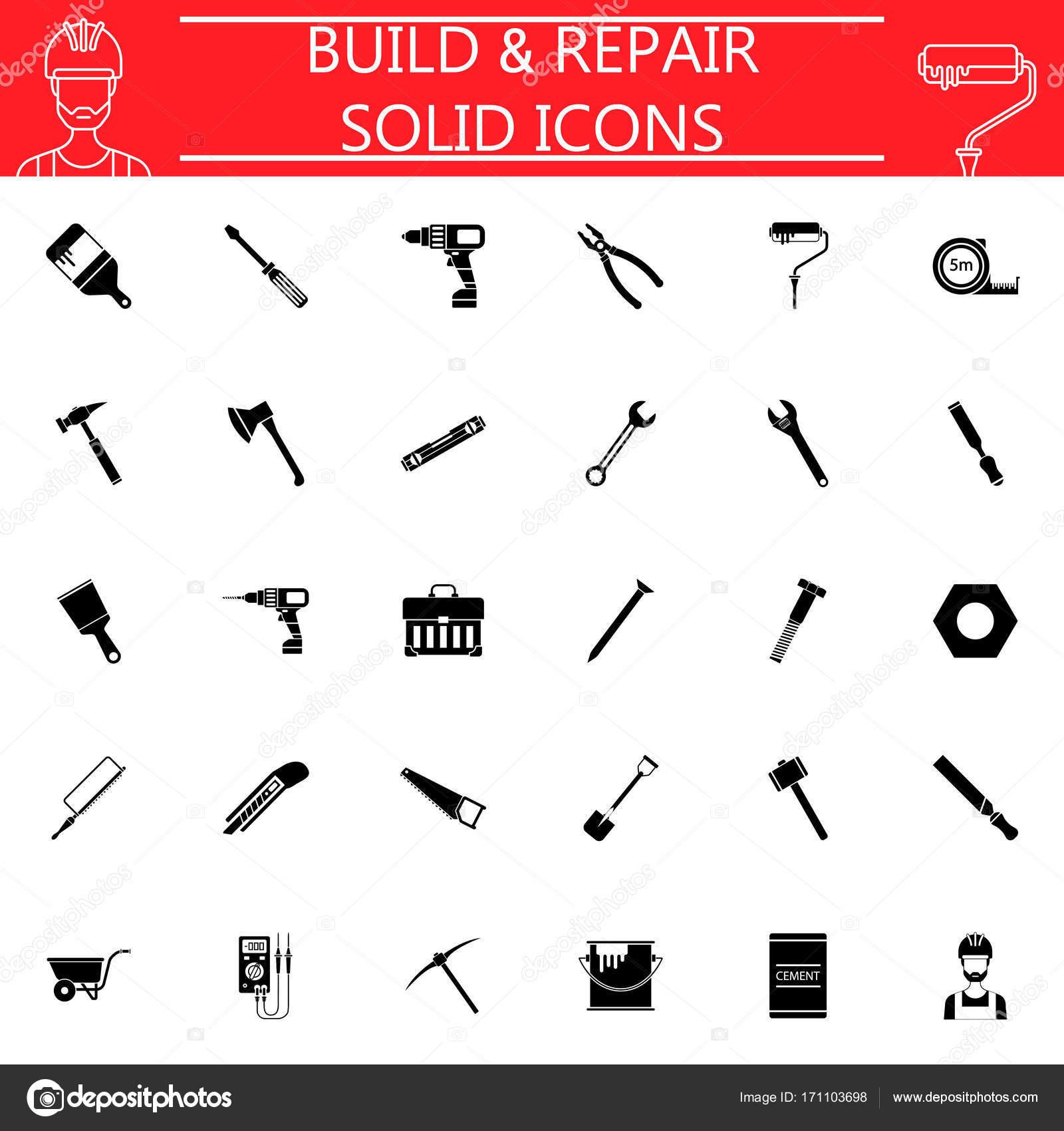 Bauen Sie und reparieren Sie solide Icon-set — Stockvektor © amin268 ...