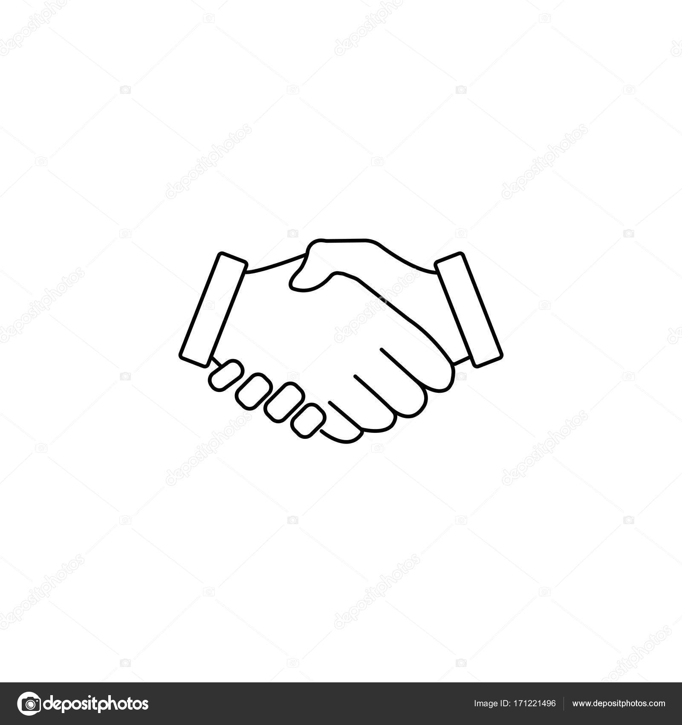 Business Handshake Liniensymbol, Geschäft Abkommen — Stockvektor ...