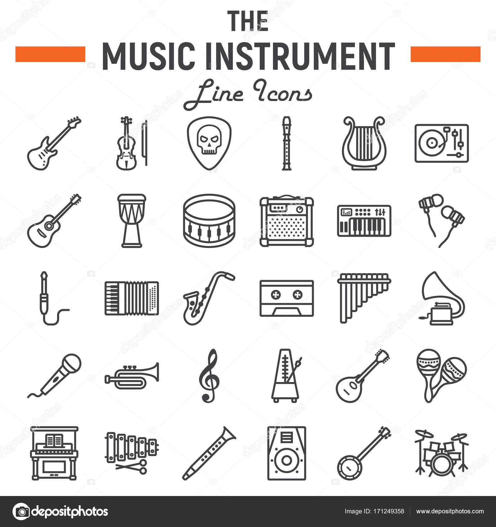 Music Instruments Line Icon Set Audio Symbols Collection