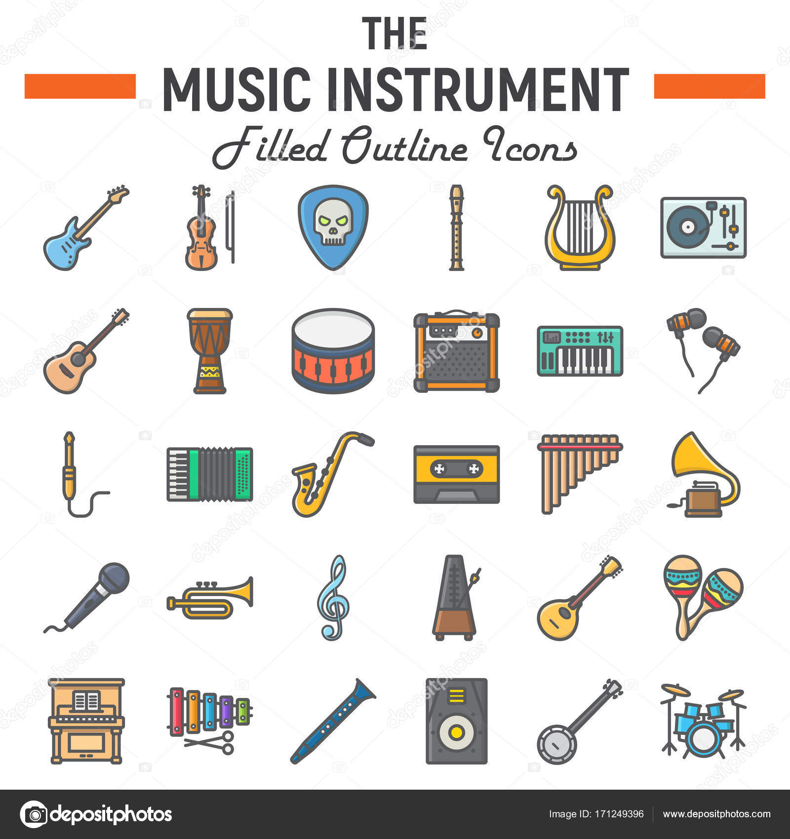Music Instruments Filled Outline Icon Set Audio Symbols Collection