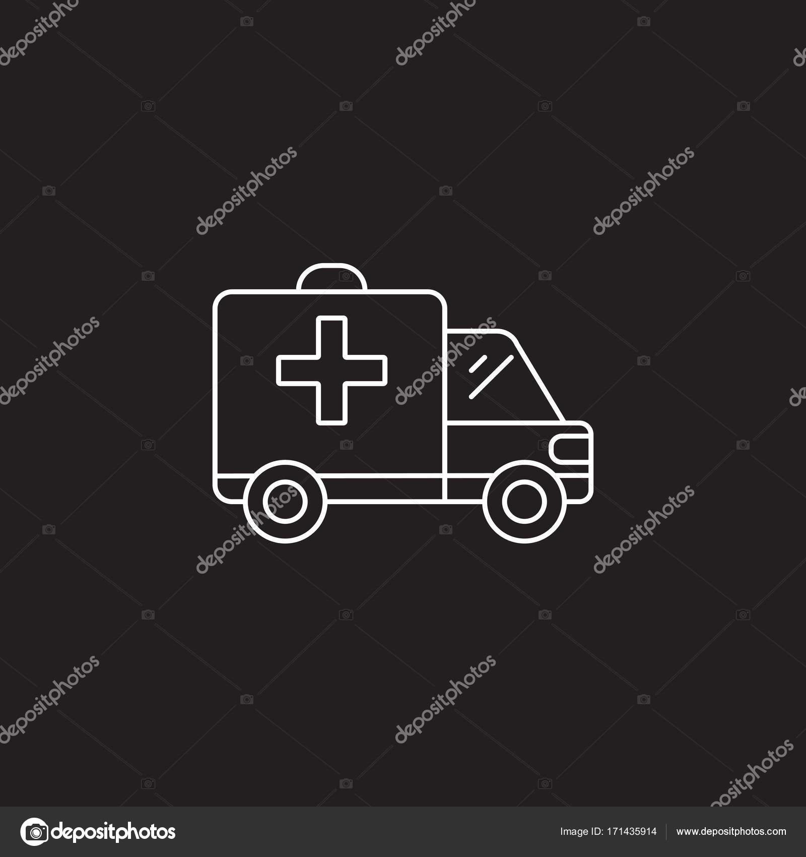 Krankenwagen Auto Liniensymbol, Logo Entwurf Vektorgrafik, linea ...