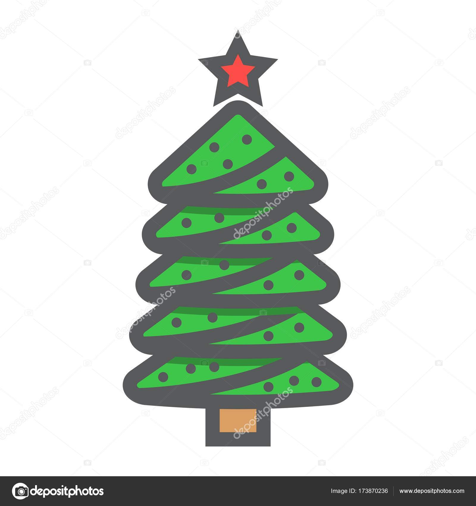 Christmas tree filled outline icon, New year and Christmas, xmas ...