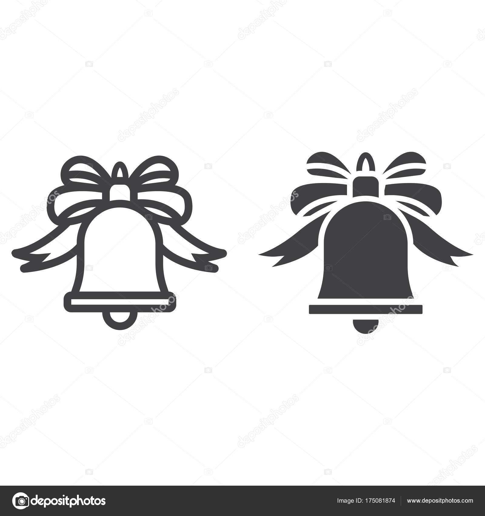 Weihnachten-Glocke mit Schleife Linie und Glyphe Symbol, Neujahr und ...