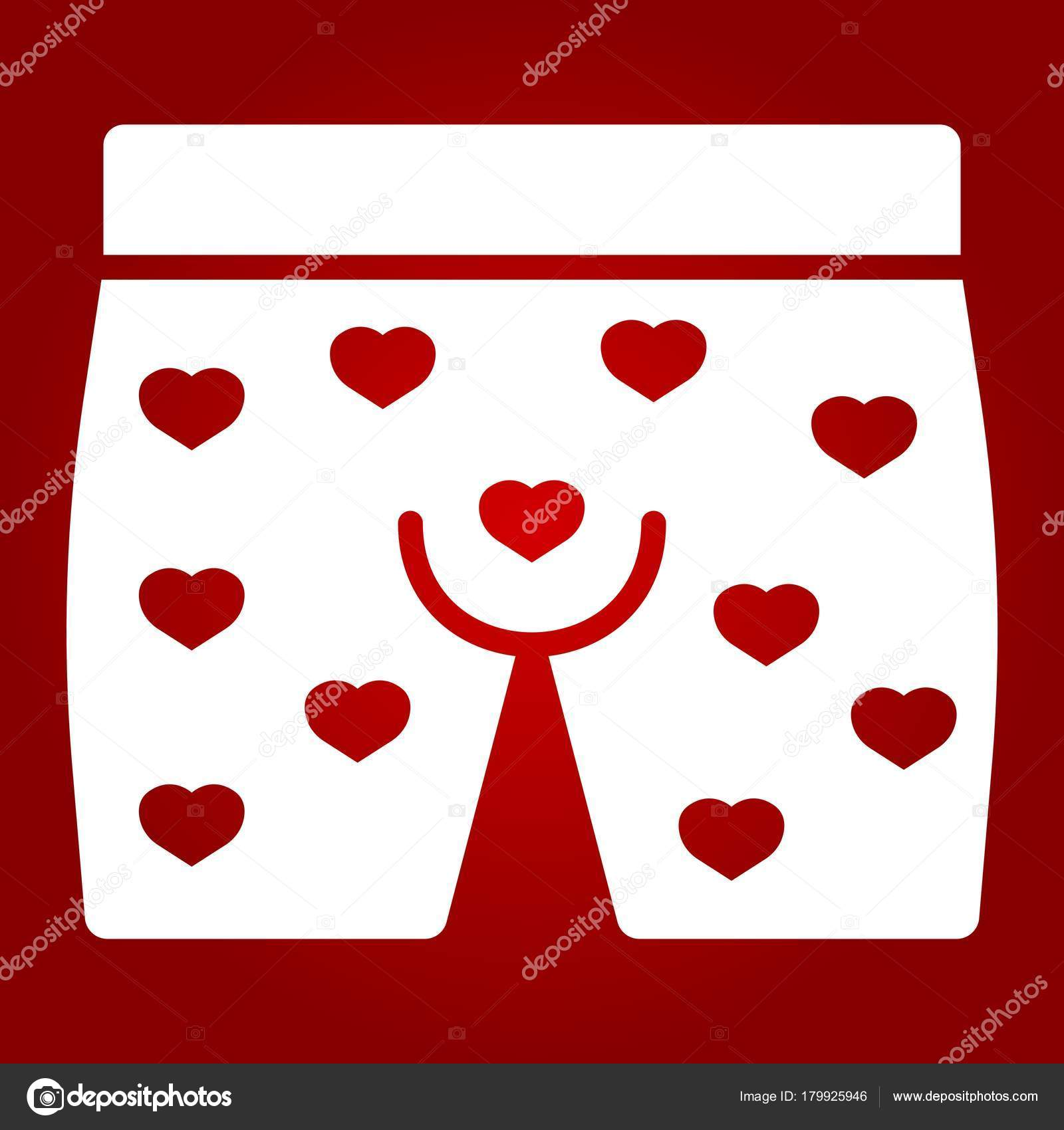 Men Underwear With Hearts Glyph Icon Valentines Day And Romantic