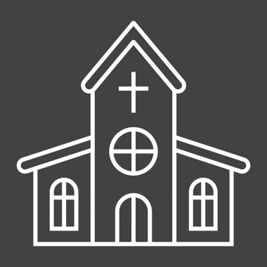 Church line icon, easter and holiday, building sign vector graphics, a linear pattern on a black background, eps 10.