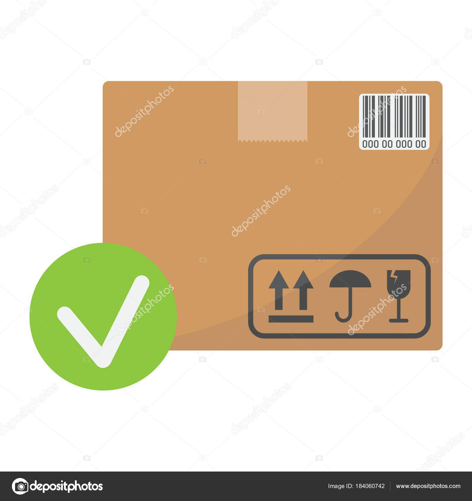 Carton box with check mark flat icon logistic and delivery order carton box with check mark flat icon logistic and delivery order delivery sign vector biocorpaavc