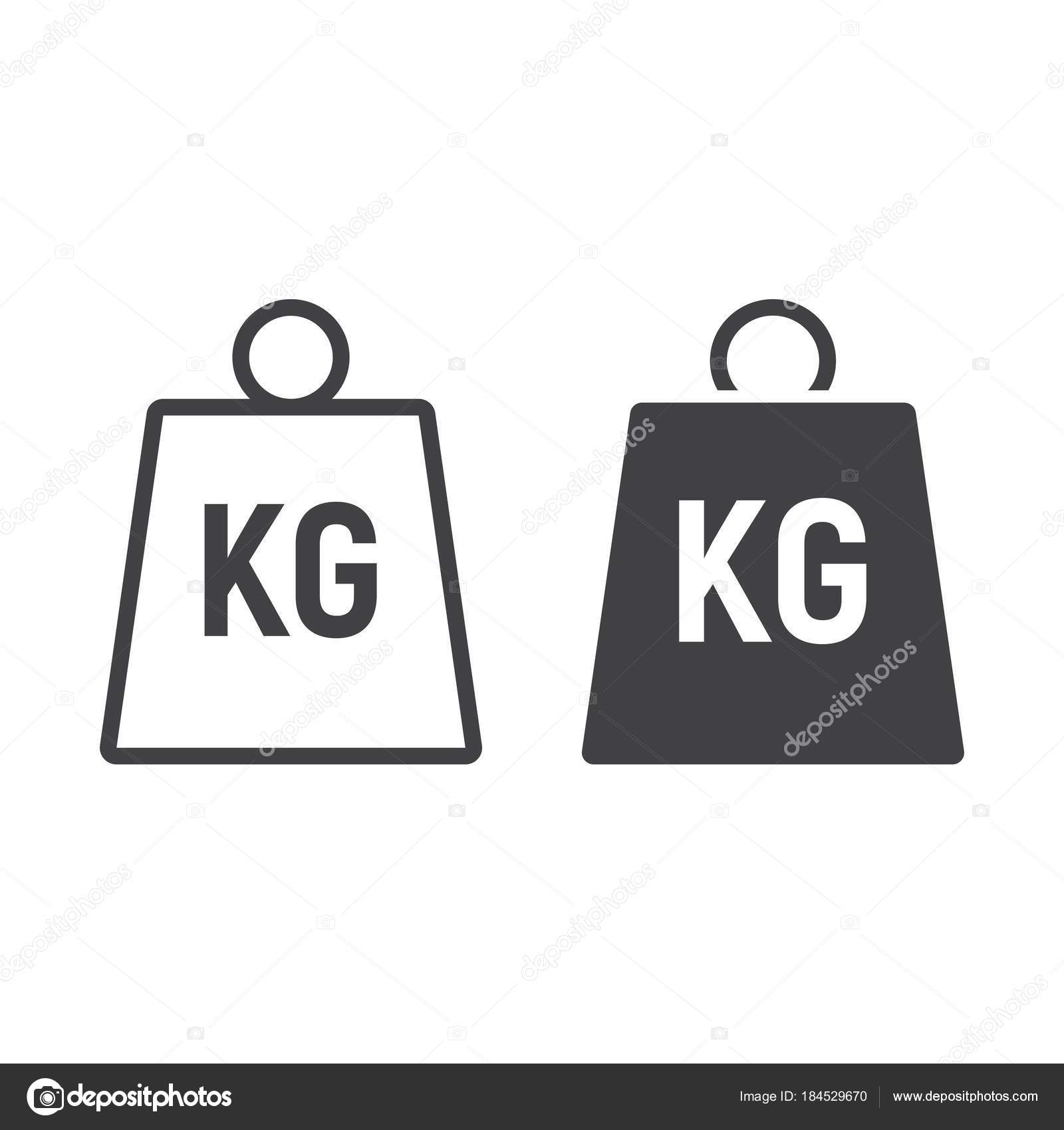 Weight Symbol Line And Glyph Icon Logistic And Delivery Kilogram