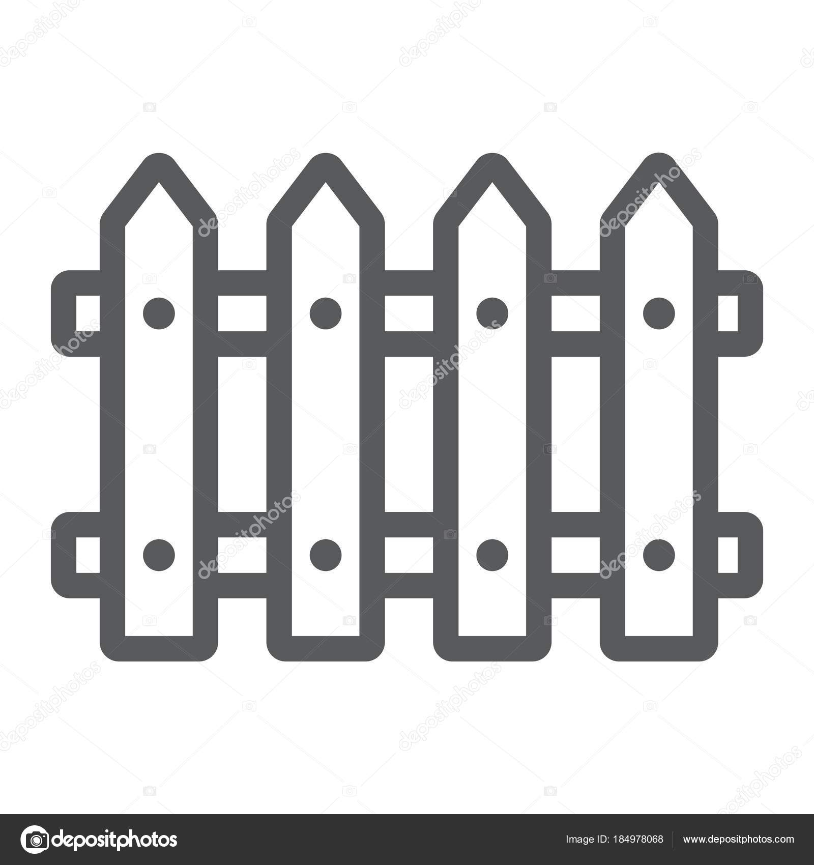 Cloture En Bois Blanc fence line icon, wooden and architecture, wall sign vector