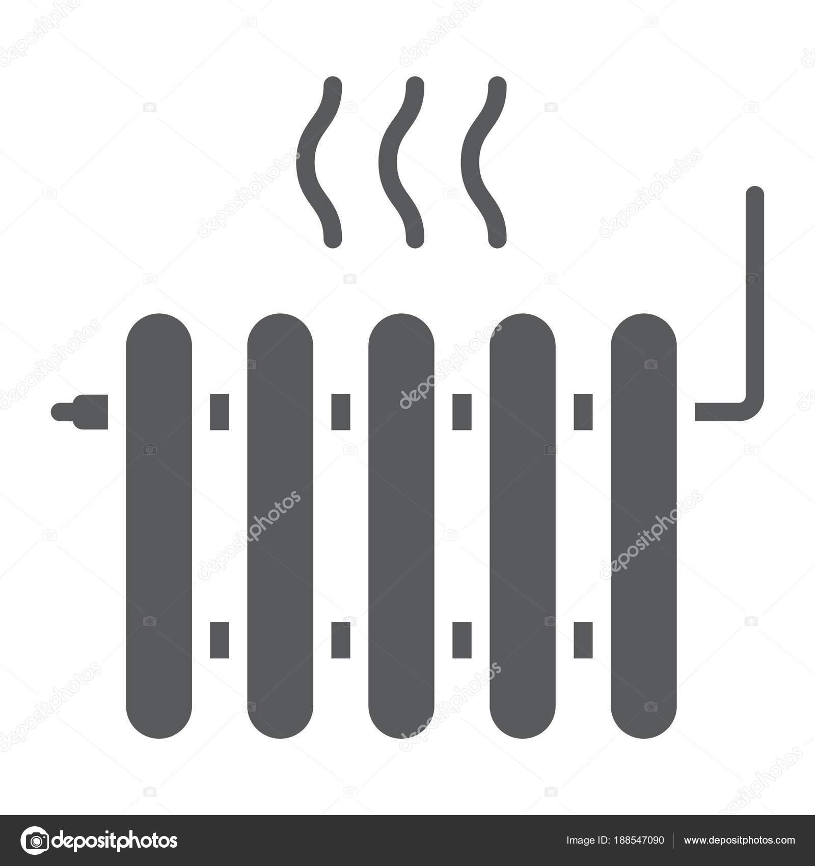 Heizkörper Glyph-Symbol, Immobilien und Haus, Hitze-Zeichen-Vektor ...