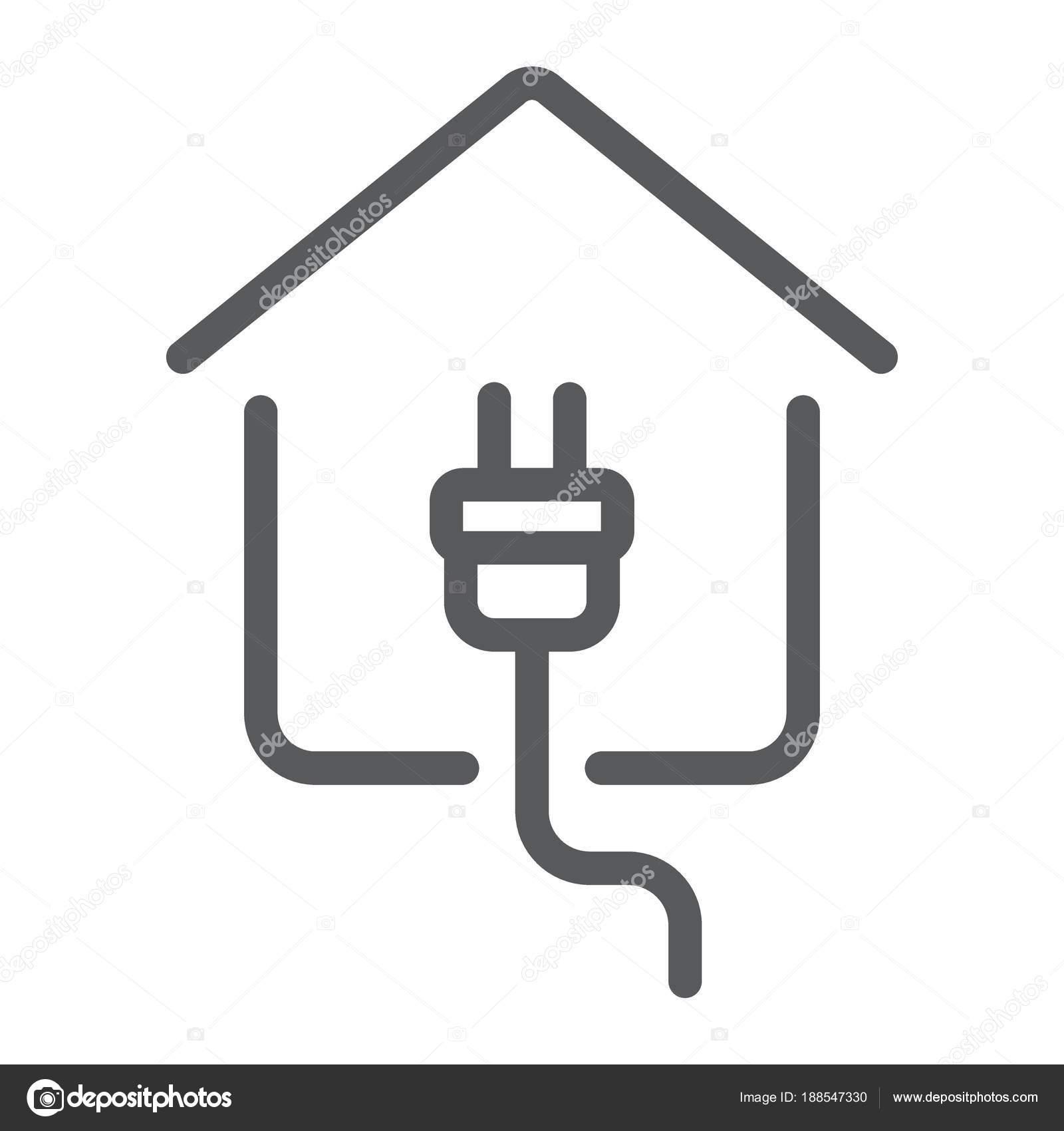 Strom nach Hause Liniensymbol, Immobilien und Haus, stecken Sie ...