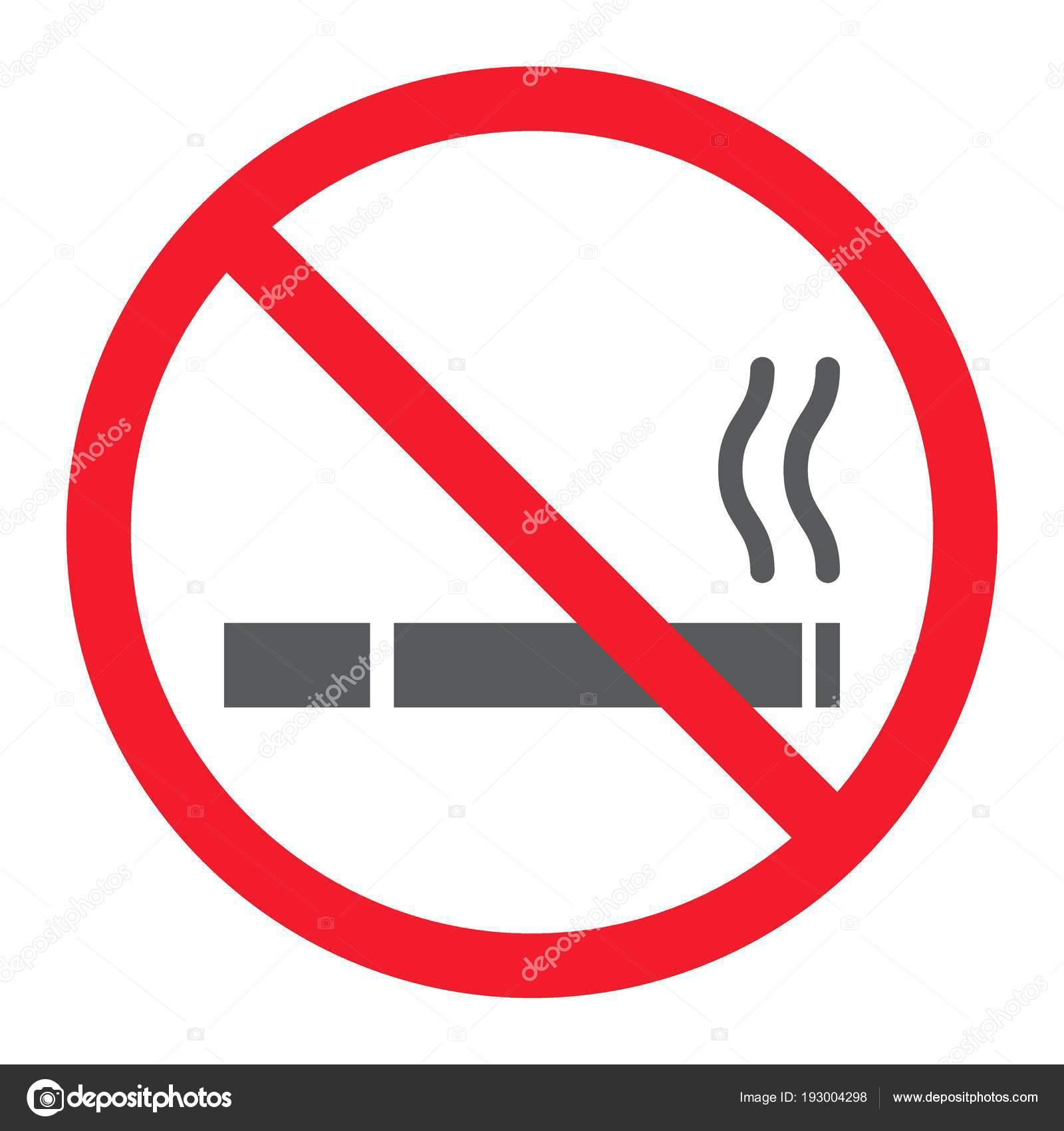 no smoking glyph icon prohibition and forbidden no cigarette sign