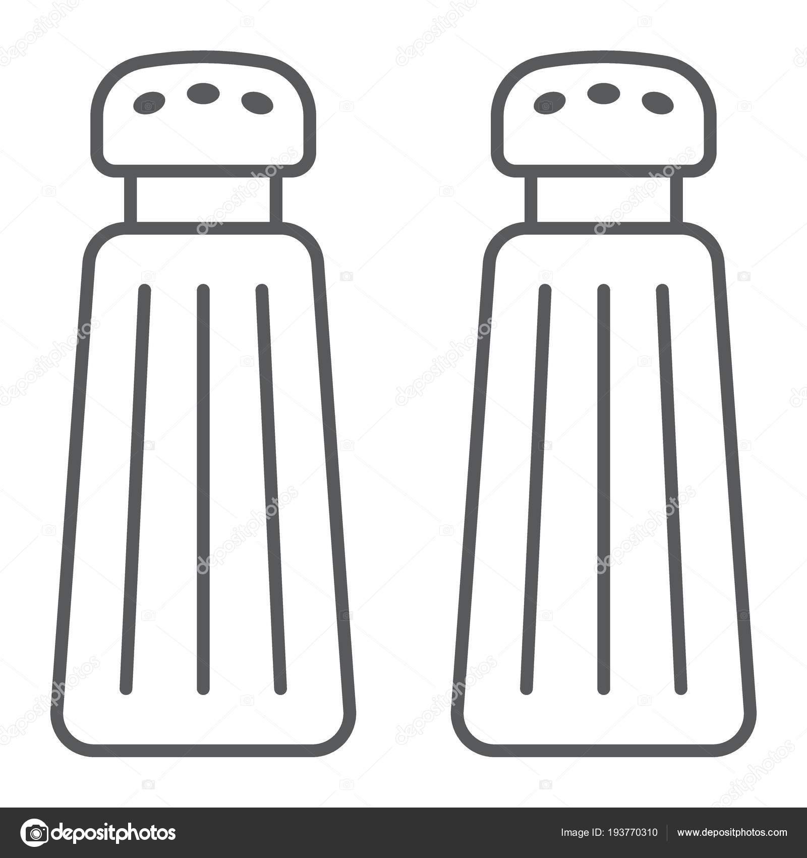 Sale e pepe shaker sottile linea icona, la cucina e la cucina ...