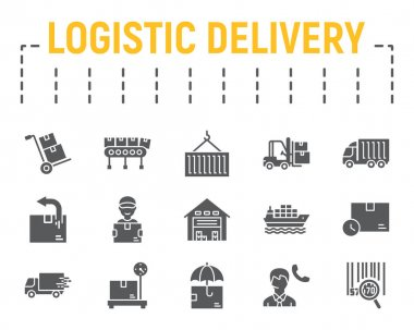 Logistics shipping glyph icon set, delivery symbols collection, vector sketches, logo illustrations, logistic delivery icons, shipping signs solid pictograms package isolated on white background.