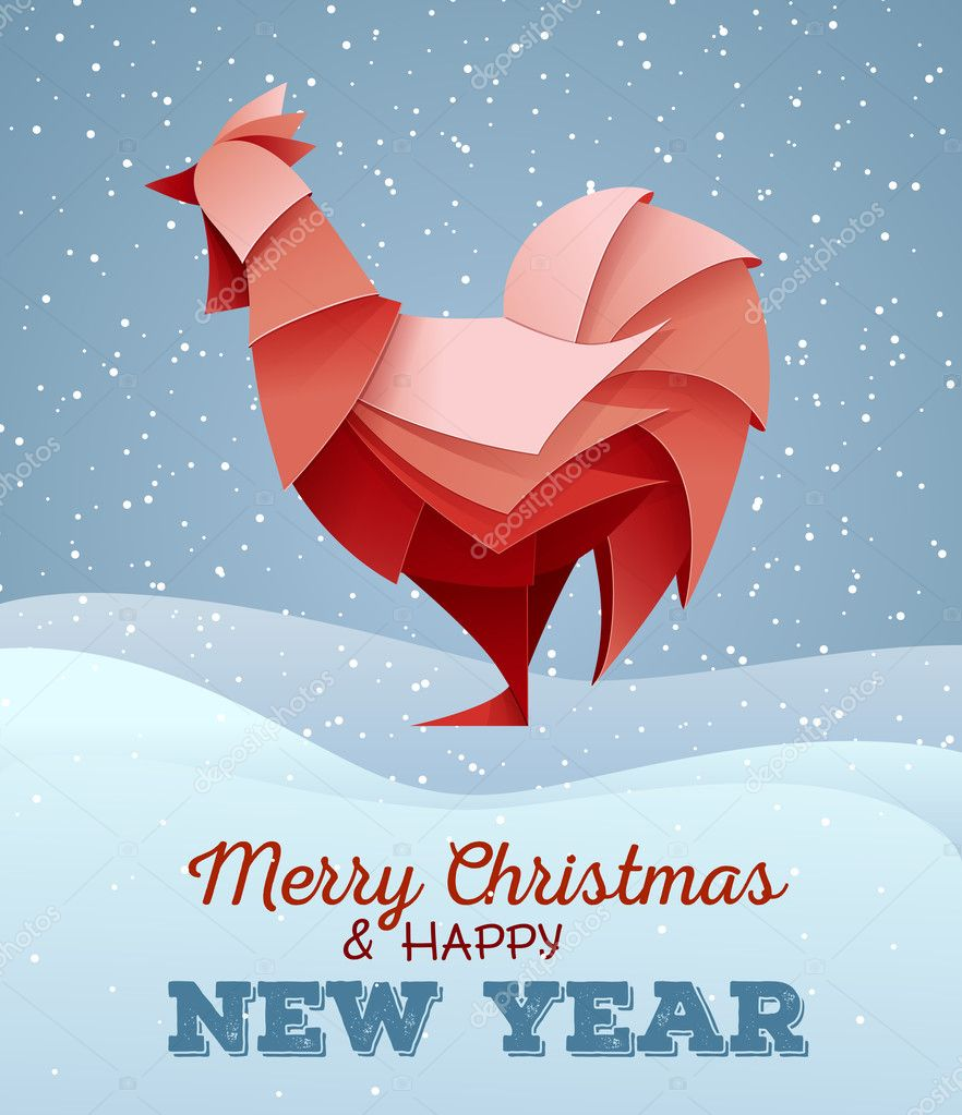 3d origami silhouette of cock or chicken happy new year card 2017 stock vector