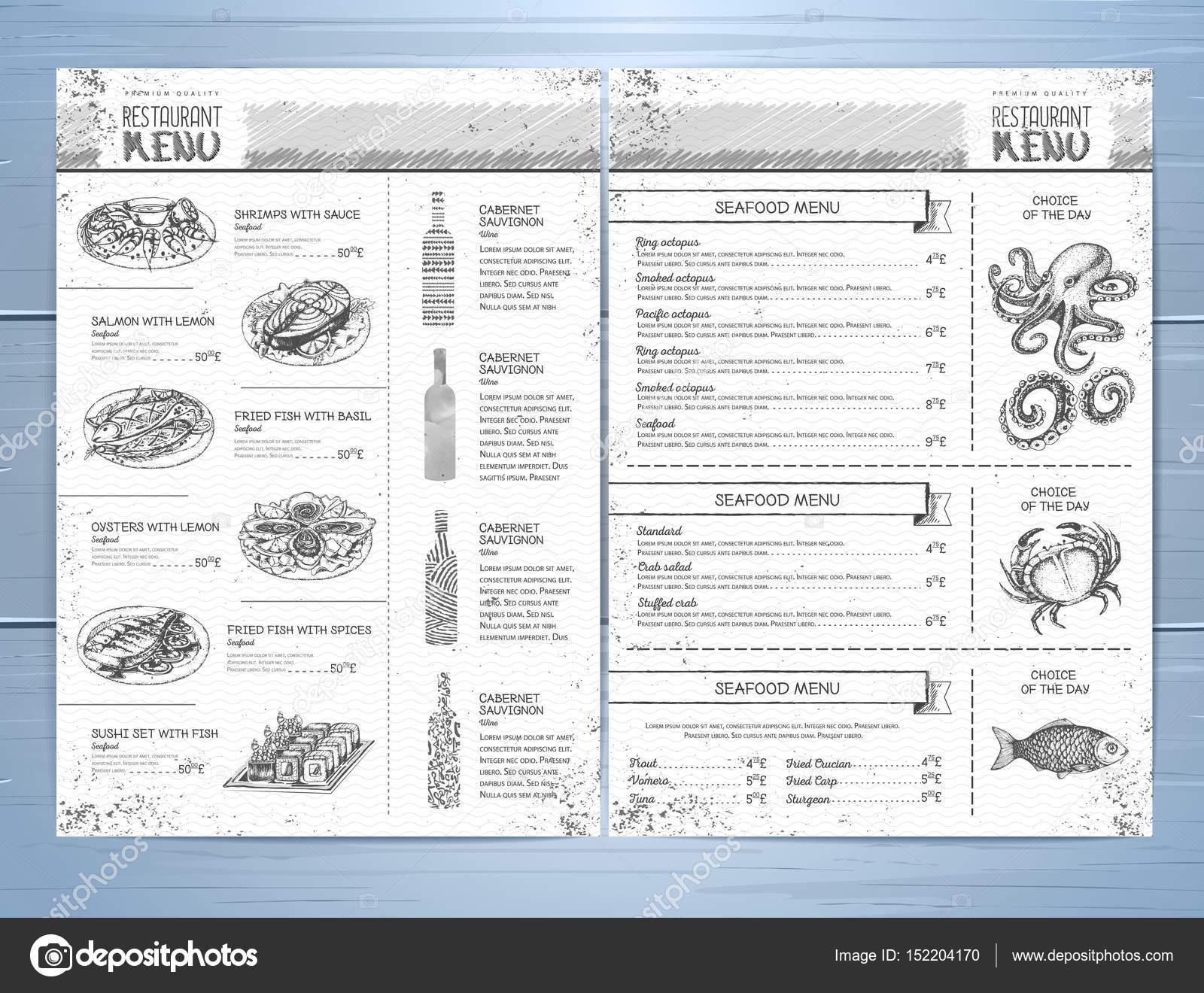Diseño del menú de restaurante de mano — Archivo Imágenes ...