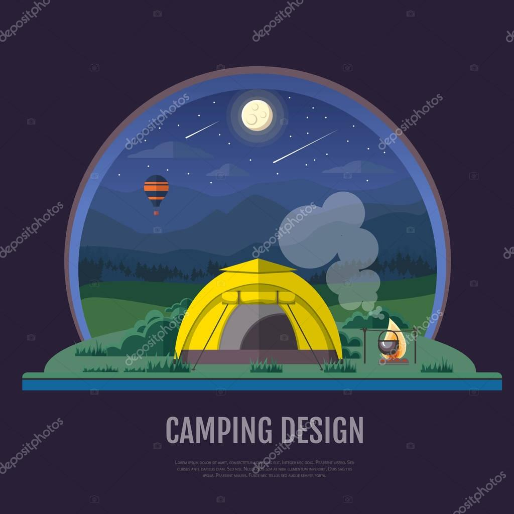 Flat style design of Mountains landscape and camping. Night scen