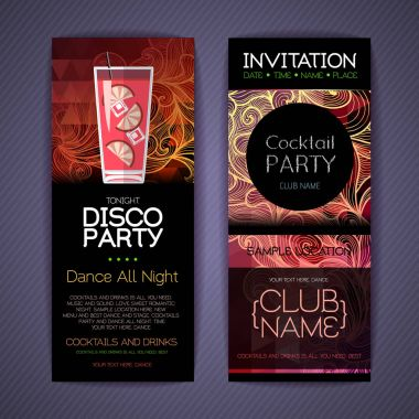 Disco cocktail identity templates. Disco background