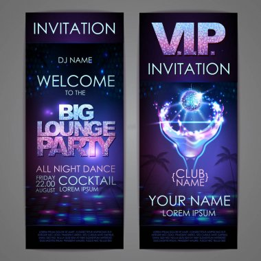 Set of disco background banners. Big lounge cocktail party poster