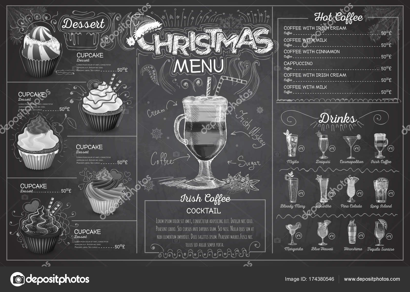vintage chalk drawing christmas menu design restaurant menu stock vector