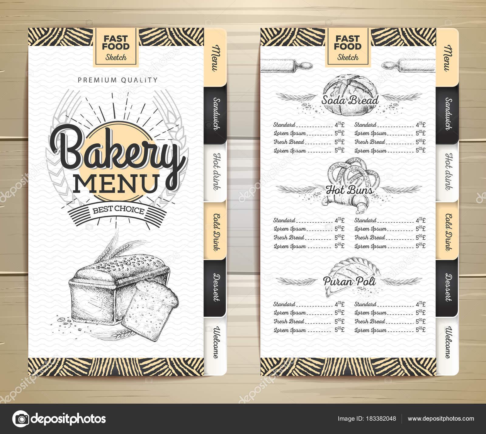 Diseño de menú de panadería vintage. Menú del restaurante. Plantilla ...