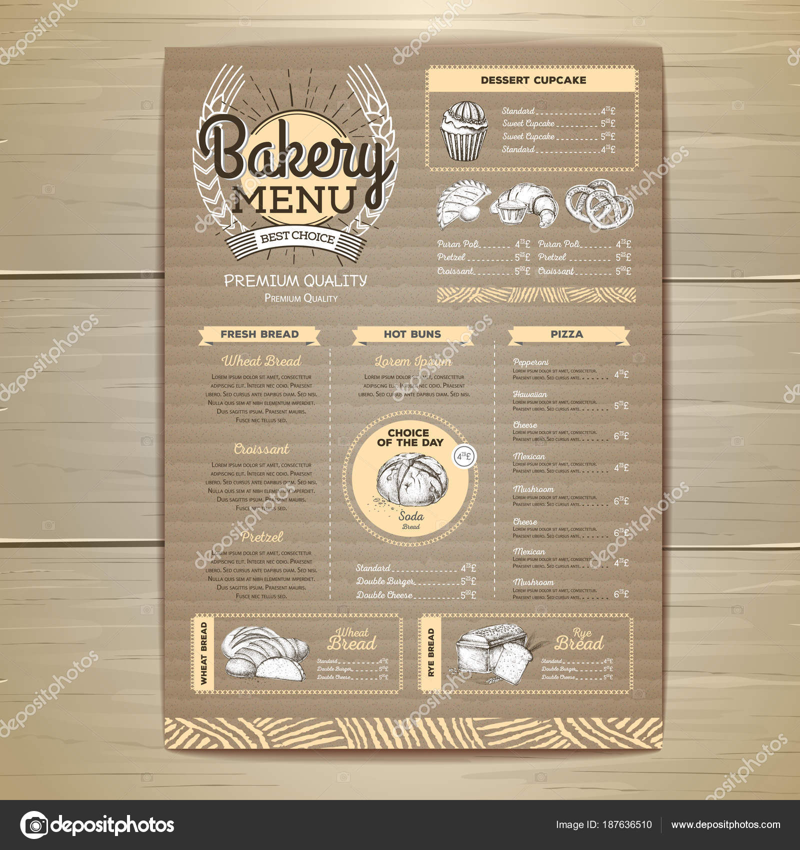 Vintage bakery menu design on cardboard background restaurant menu vintage bakery menu design on cardboard background restaurant menu stock vector thecheapjerseys Images